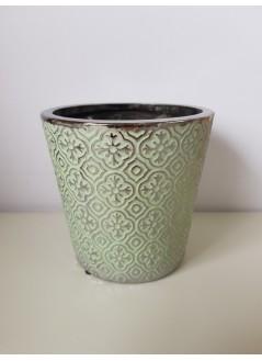 Керамична кашпа 14cм зелена