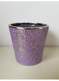 Керамична кашпа 14cм лилава