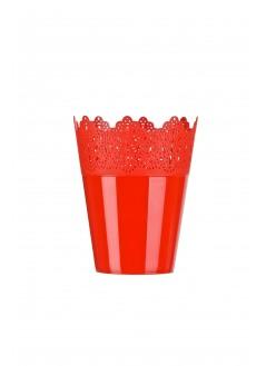 Кашпа Коронка 16.5см червена