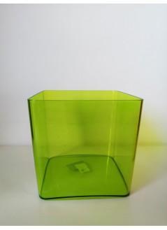 Кашпа за орхидея куб зелен