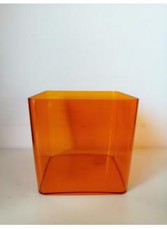 Кашпа за орхидея куб оранжев