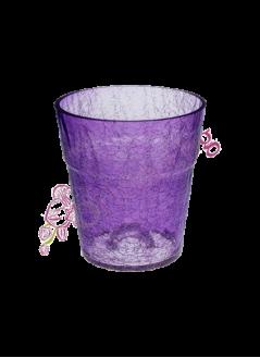 Стъклена кашпа за орхидеи - лилава, 13см